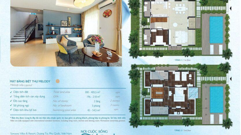 Mặt bằng biệt thự nghỉ dưỡng Novotel Villas – Melody