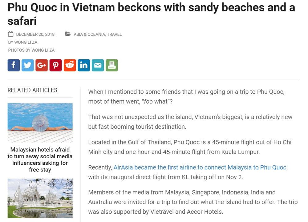 """Phú Quốc đang là từ khoá """"hot"""" trên báo nước ngoài"""