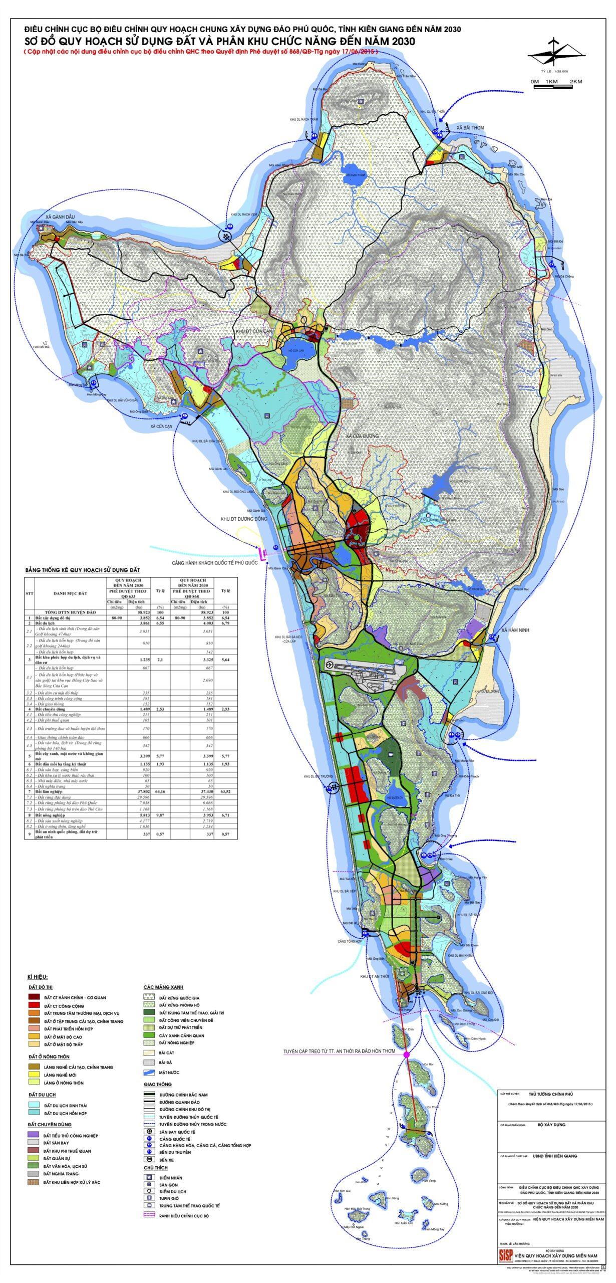 Bản đồ Quy hoạch Sử dụng đất theo 868 Phú Quốc